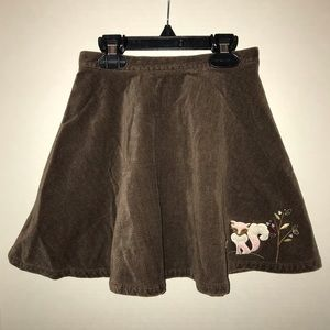 Gymboree full brown skirt with fox near hemline